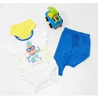 Miniworld Erkek Ananas Baskılı Badili Bebek Takımı Mavi