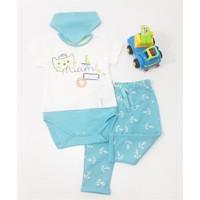 Miniworld Erkek Balıklı Kedicik Badili Bebek Takımı Mavi