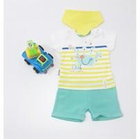 Miniworld Erkek Yengeç Baskılı Şortlu Bebek Tulumu Yeşil