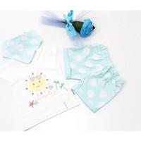 Miniworld Kız Güneş Baskılı Şortlu Bebek Takımı Su Yeşili