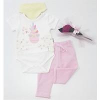 Miniworld Kız Ananas Baskılı Badili Bebek Takımı Pembe