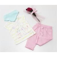 Miniworld Kız Fiyonklu Tavşan Kaprili Bebek Takımı Pembe