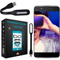 Case Man Alcatel İdol 4 Kırılmaz Cam 9H Temperli Ekran Koruyucu + Katlanabilir Usb Led Lamba