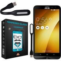 Case Man Asus Zenfone 2 Laser Kırılmaz Cam 9H Temperli Ekran Koruyucu + Katlanabilir Usb Led Lamba
