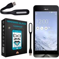 Case Man Asus Zenfone 5 Kırılmaz Cam 9H Temperli Ekran Koruyucu + Katlanabilir Usb Led Lamba