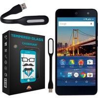 Case Man General Mobile Android One 4G Kırılmaz Cam 9H Temperli Ekran Koruyucu + Usb Led Lamba