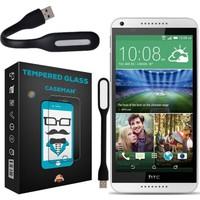 Case Man HTC Desire 816 9H Temperli Ekran Koruyucu + Katlanabilir Usb Led Lamba