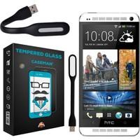 Case Man HTC One M7 Kırılmaz Cam 9H Temperli Ekran Koruyucu + Katlanabilir Usb Led Lamba
