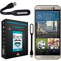 Case Man HTC One M9 9H Temperli Ekran Koruyucu + Katlanabilir Usb Led Lamba