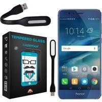 Case Man Huawei Honor 8 9H Temperli Ekran Koruyucu + Katlanabilir Usb Led Lamba