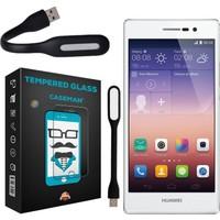 Case Man Huawei P7 9H Temperli Ekran Koruyucu + Katlanabilir Usb Led Lamba