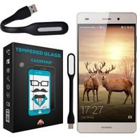 Case Man Huawei P8Kırılmaz Cam 9H Temperli Ekran Koruyucu + Katlanabilir Usb Led Lamba