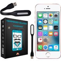 Case Man Apple iPhone SE Kırılmaz Cam 9H Temperli Ekran Koruyucu + Katlanabilir Usb Led Lamba