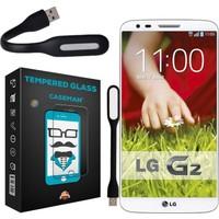 Case Man LG G2 Kırılmaz Cam 9H Temperli Ekran Koruyucu + Katlanabilir Usb Led Lamba