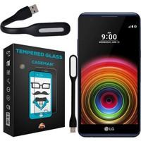 Case Man LG X Power 9H Temperli Ekran Koruyucu + Katlanabilir Usb Led Lamba