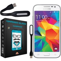 Case Man Samsung Galaxy Core Prime 9H Temperli Ekran Koruyucu + Usb Led Lamba