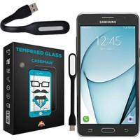 Case Man Samsung Galaxy On5 Kırılmaz Cam 9H Temperli Ekran Koruyucu + Usb Led Lamba