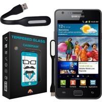 Case Man Samsung Galaxy S2 9H Temperli Ekran Koruyucu + Katlanabilir Usb Led Lamba