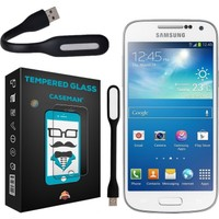 Case Man Samsung Galaxy S4 Mini 9H Temperli Ekran Koruyucu + Usb Led Lamba