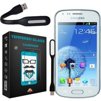 Case Man Samsung Galaxy Trend Kırılmaz Cam 9H Temperli Ekran Koruyucu + Usb Led Lamba