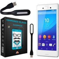 Case Man Sony XperiaM4 Aqua Kırılmaz Cam 9H Temperli Ekran Koruyucu + Usb Led Lamba