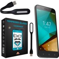 Case Man Vodafone Smart Pro 7 Kırılmaz Cam 9H Temperli Ekran Koruyucu + Usb Led Lamba
