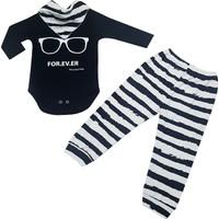 Karyel Bebe 3'lü Erkek Bebek Fularlı Body ve Zıbın Seti Mf-9109-F