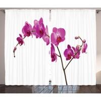 Orange Venue Mor Orkide Desenli Fon Perde Beyaz Şık Tasarım