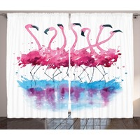Orange Venue Flamingo Desenli Fon Perde Pembe Mavi Şık Tasarım