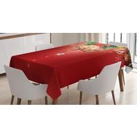 Orange Venue Yılbaşı Ve Cam Süsleme Desenli Masa Örtüsü Kırmızı