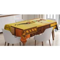Orange Venue Afrikalı Kız Temalı Masa Örtüsü Sarı Kahverengi Şık