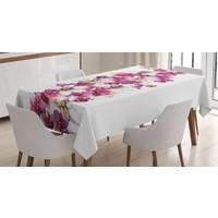 Orange Venue Mor Ve Beyaz Çiçek Temalı Masa Örtüsü Şık Tasarım