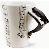 Aldepo Nota Baskılı Piyano Kulplu Seramik Kupa Bardak