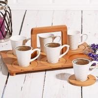 Bambu Tepsili 6 Kişilik Kahve Seti