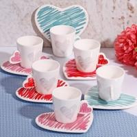 Lüx Porselen Kalp Figürlü 6 Kişilik Kahve Fincan Seti