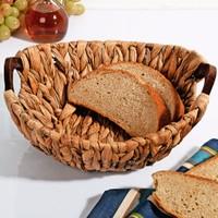 Lüx Ahşap Tutacaklı Hasır Ekmek Sepeti