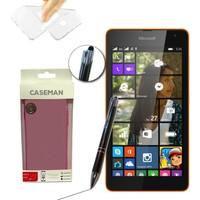 Case Man Nokia Lumia 535 Silikon Kılıf Ultra İnce Koruma + Dokunmatik Stylus Kalem