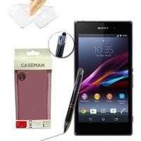 Case Man Sony Xperia Z1 Silikon Kılıf Ultra İnce Koruma + Dokunmatik Stylus Kalem