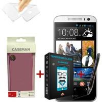 Case Man HTC Desire 616 Silikon Kılıf + Kırılmaz Cam + Stylus Kalem