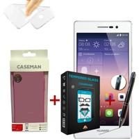 Case Man Huawei P7 Silikon Kılıf + Kırılmaz Cam + Stylus Kalem
