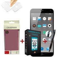 Case Man Meizu M1 Note Silikon Kılıf + Kırılmaz Cam + Stylus Kalem