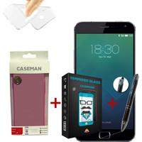 Case Man Meizu MX5 Pro Silikon Kılıf + Kırılmaz Cam + Stylus Kalem