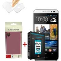 Case Man HTC Desire 616 Silikon Kılıf + Kırılmaz Cam 9H Temperli Ekran Koruyucu