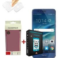 Case Man Huawei Honor 8 Silikon Kılıf + 9H Temperli Ekran Koruyucu
