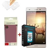 Case Man Huawei P8 Silikon Kılıf + Kırılmaz Cam 9H Temperli Ekran Koruyucu