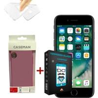 Case Man Apple iPhone 7 Silikon Kılıf + 9H Temperli Ekran Koruyucu