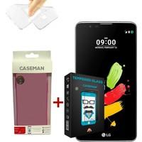 Case Man LG Stylus 2 Silikon Kılıf + Kırılmaz Cam 9H Temperli Ekran Koruyucu