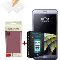 Case Man LG X Cam Silikon Kılıf + 9H Temperli Ekran Koruyucu