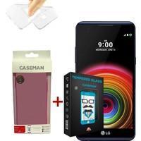 Case Man LG X Power Silikon Kılıf + 9H Temperli Ekran Koruyucu