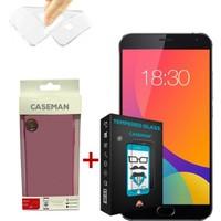 Case Man Meizu MX5 Silikon Kılıf + Kırılmaz Cam 9H Temperli Ekran Koruyucu